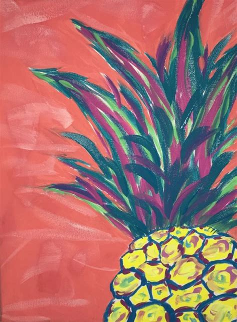 Painting Ideas by Pineapple Painting Canvas Paints Pineapple