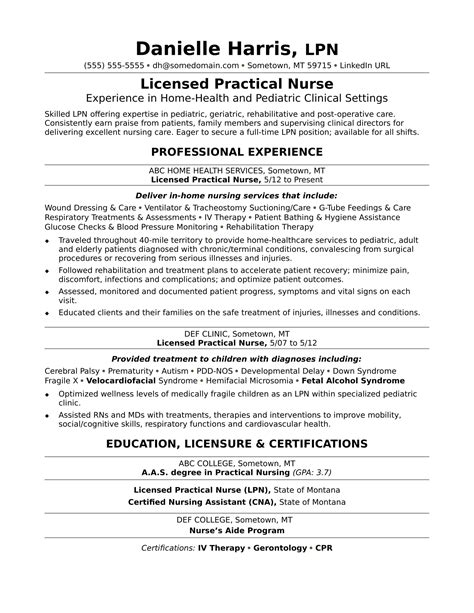 licensed practical resume sle