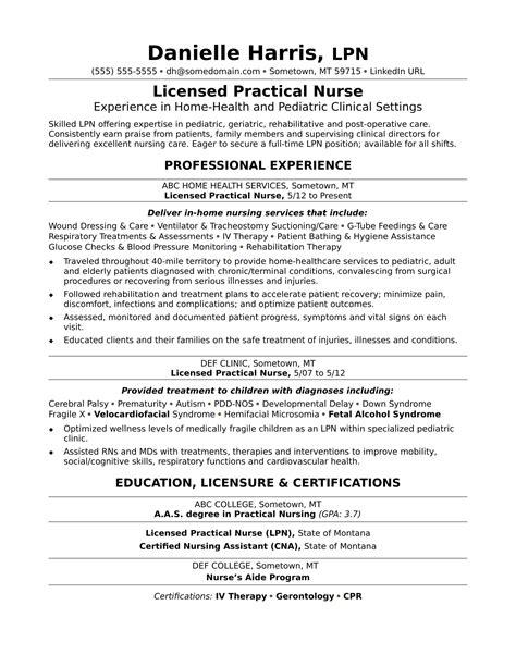 sample resume licensed practical nurse licensed practical nurse resume sample monster com