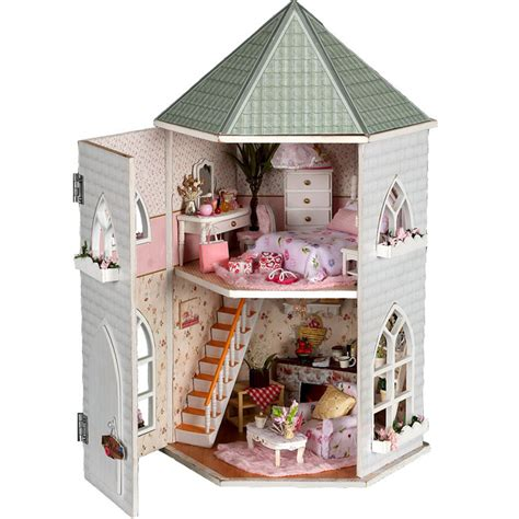 Kits Love Castle Diy Wood Dollhouse Miniature With Light