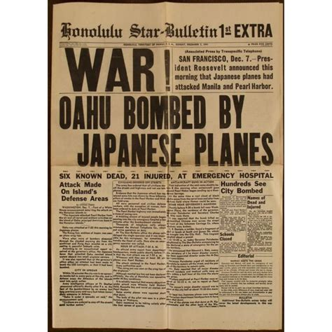 original honolulu newspaper headline war on japan 1941