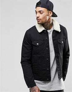 Veste Homme Col Mouton : veste en jean avec col effet mouton noir mens wear pinterest ~ Dallasstarsshop.com Idées de Décoration