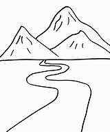 Mountains Coloring Pages Simple sketch template