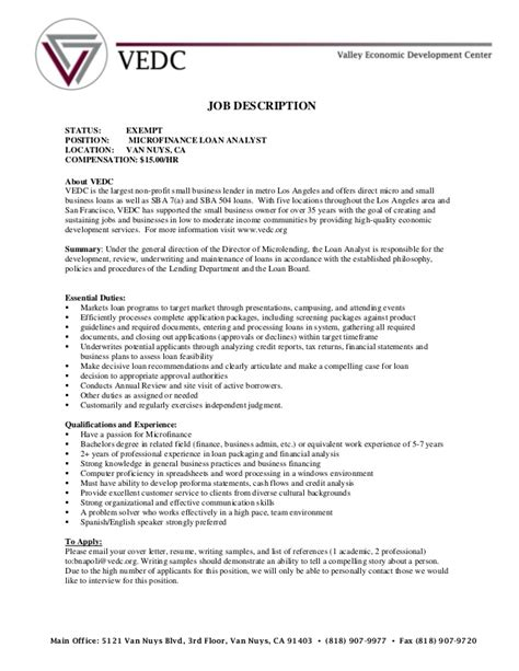 20977 resume template free description loan analyst vedc