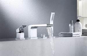 4 Loch Armatur : wannenrandarmatur fliesenrandarmatur 6080 design 4 loch wasserfall badewannenarmatur badewelt ~ Frokenaadalensverden.com Haus und Dekorationen