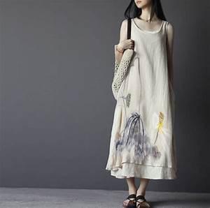 2015 ete coton lin robe peinte a la main encre de chine With robe en lin grande taille