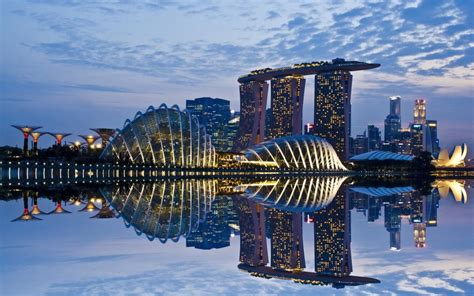 新加坡滨海湾金沙酒店与空中花园夜景,高清壁纸图片,城市夜景 ...