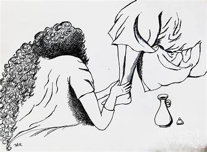 Feet Tears Washed Rowden Esther Drawing Mary