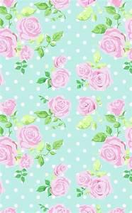 Mint vintage floral dots phone iphone wallpaper background ...