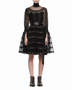 Alexander McQueen Metallic-Striped Lace Cocktail Dress ...