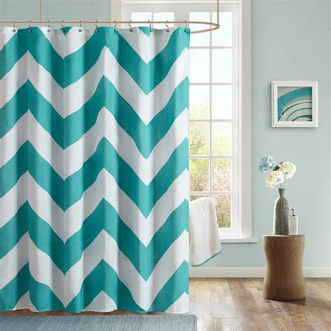 New Chevron Microfiber Shower Curtain Teal & White Modern