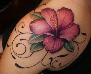 Maroon hibiscus flower tattoo on shoulder blade ...