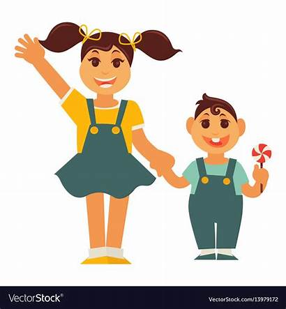 Holding Sister Brother Sisters Clipart Boy Vector