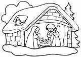 Christmas Crib Coloring Drawing Celebration Getdrawings Printable Pages sketch template