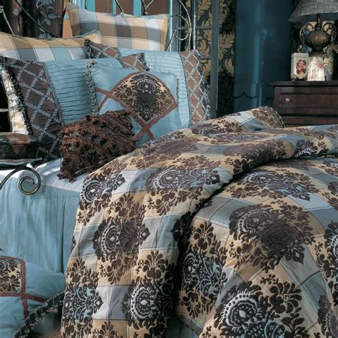 vikingwaterfordcom page  fabulous blue brown queen comforter  flowers embroidery