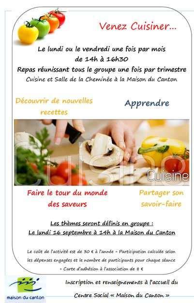 atelier cuisine centre social atelier cuisine centre social quot maison du canton quot
