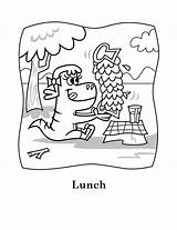 Coloring Eating Lunch Dinosaur Lucy Printable Yum Sheets Printables Snoopy Characters sketch template