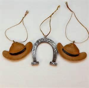 3 western cowboy ornaments christmas hats horseshoe