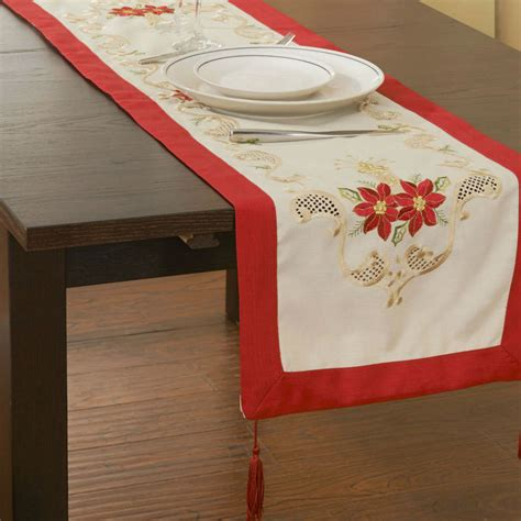 holiday red christmas decoration embroidery tablelinen runners 15x43 quot free shipping in