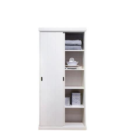 meuble bureau porte coulissante armoire 2 portes coulissantes pin blanc gerolt achat