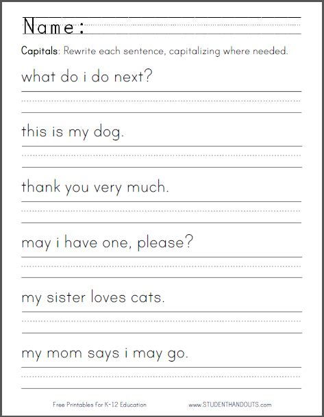 capital letters worksheet students  asked  rewrite