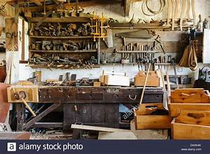 Old carpenters workshop with tools and finished products