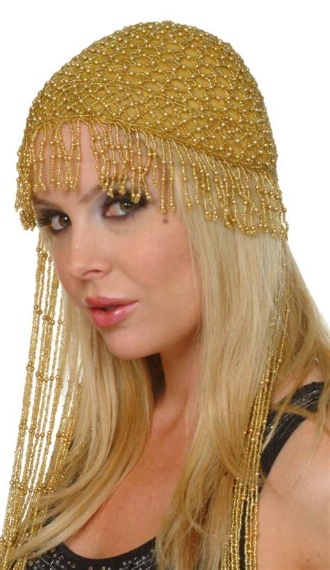 Cleopatra Beaded Belly Dance Headpiece with Long Fringe in ...
