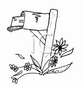 Black and White Country Mailbox - Royalty Free Clipart Picture