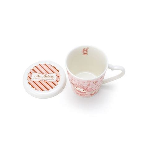 Wagokoroya 0.1 thickness japanese romantic artwork fine bone china silver melody heart cup with heart shape saucer in an exquisite gift box, 3.6 oz. My Melody Mug: Parade - The Kitty Shop