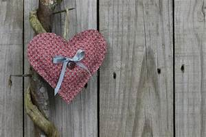 Pink Calico Heart Hanging On Honey Locust Tree With Wood