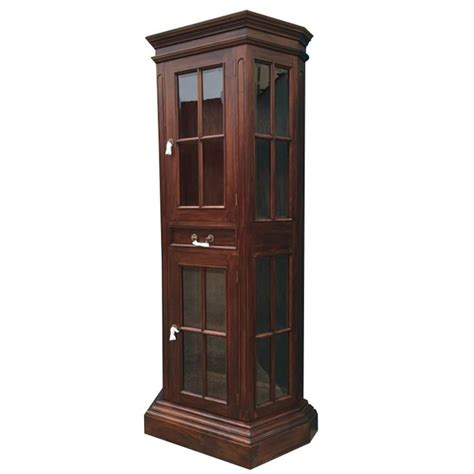 Wood Bookcase Cabinet by Antique Style Solid Mahogany Wood Profile Display Cabinet