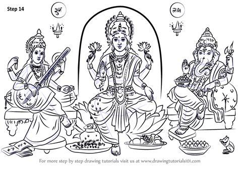 learn   draw laxmi ganesh saraswati hinduism step