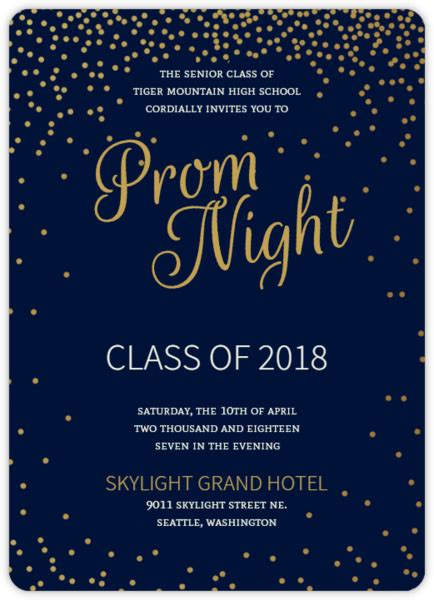 golden confetti stars prom invitation prom invitations
