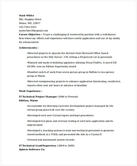 Technical Project Manager Resume by It Operations Manager Resume