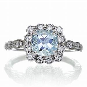 Cushion aquamarine engagement ring vintage scallop diamond for Wedding rings aquamarine