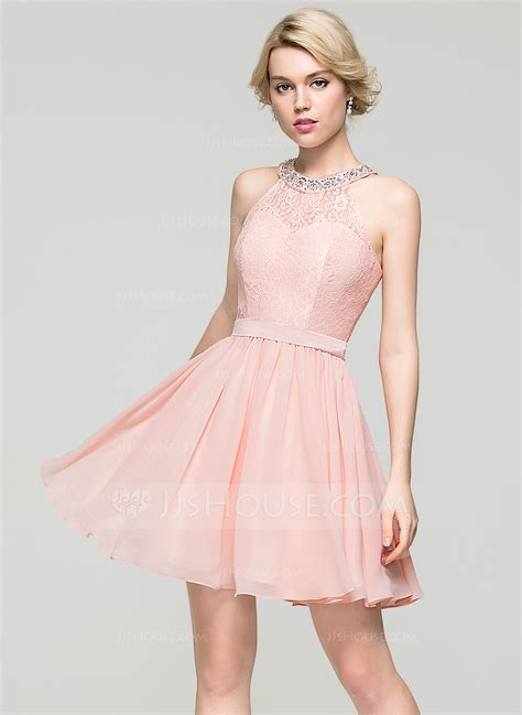 A-Line Scoop Neck Short/Mini Chiffon Homecoming Dress With ...