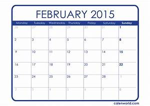 monthly calendars calendars With calendar template for february 2015