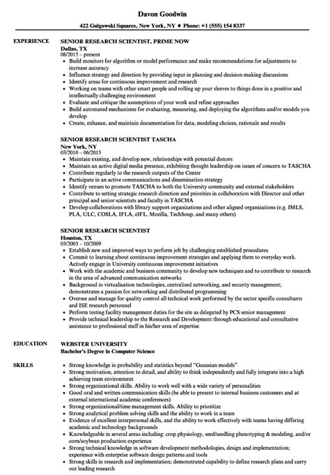 senior research scientist resume sles velvet