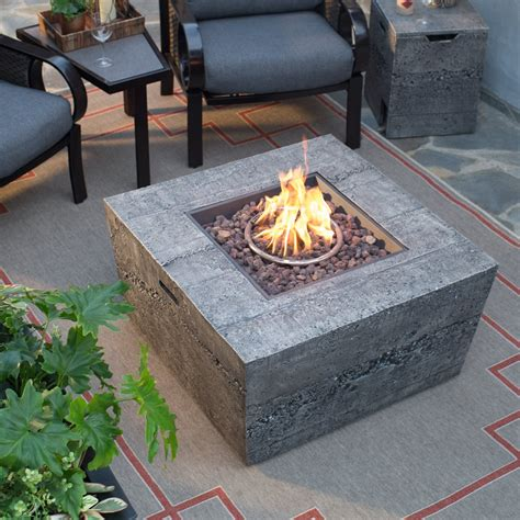 Red Ember Glacier Stone 35 In Square Gas Fire Pit Table