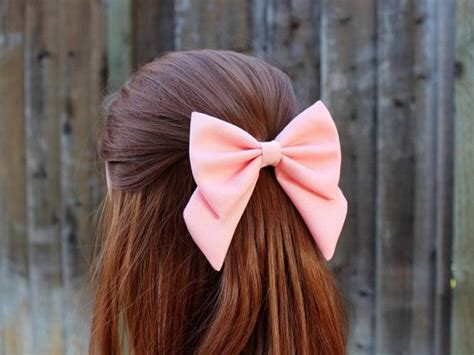 pink hair bow fabric hair bow  tails big hair