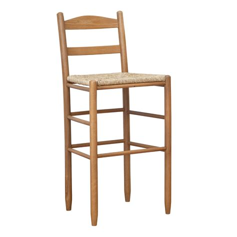 shaker style wooden bar stool with ladder back and wicker