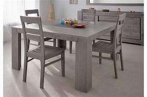 Table Carree Chene : table de repas en bois carr e ch ne gris ~ Teatrodelosmanantiales.com Idées de Décoration
