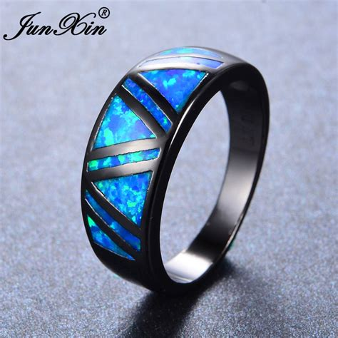 junxin blue fire opal ring vintage black gold filled jewelry wedding rings for men