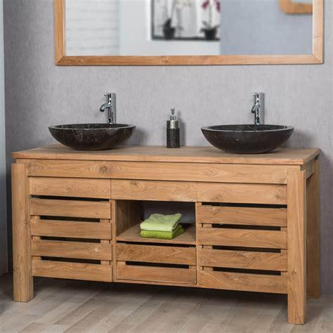 cuisiniste salle de bain meuble sous vasque vasque en bois teck massif