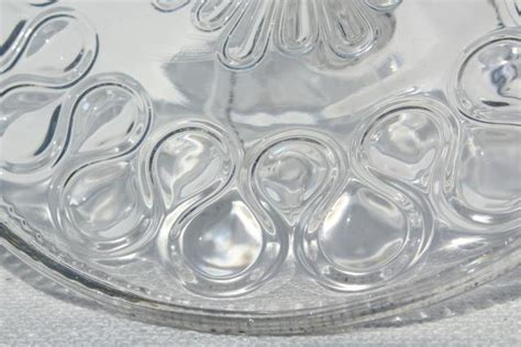 antique pressed glass cake stand pedestal plate, 1890s