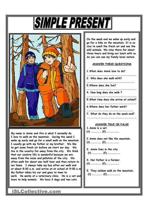 simple present reading comprehension text reading