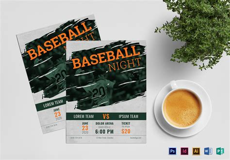 baseball flyer design template  psd word publisher