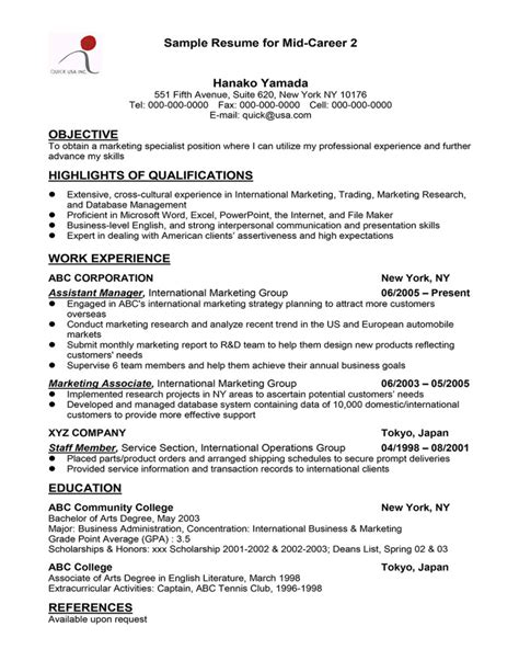 mid career resume objective 28 images 6 things you