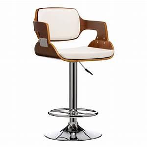 Stokey White Walnut Chair Bar Stool