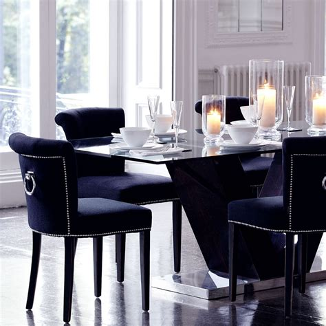 Royal Blue Dining Room by Eichholtz Key Largo Chair Black Cashmere Houseology